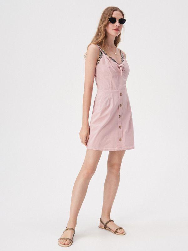 7978b6d9cc Sukienka z wiązaniem na dekolcie · Sukienka z wiązaniem na dekolcie -  różowy - VP209-38X - SINSAY
