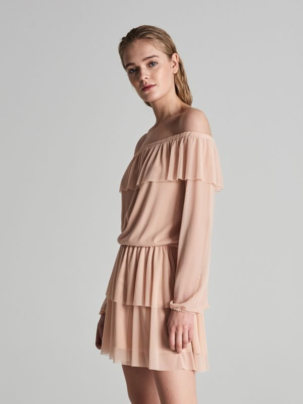 0bfd3913de16 Šaty s leoparďou potlačou · Šaty s odhalenými ramenami - ružová - VP403-03X  - SINSAY