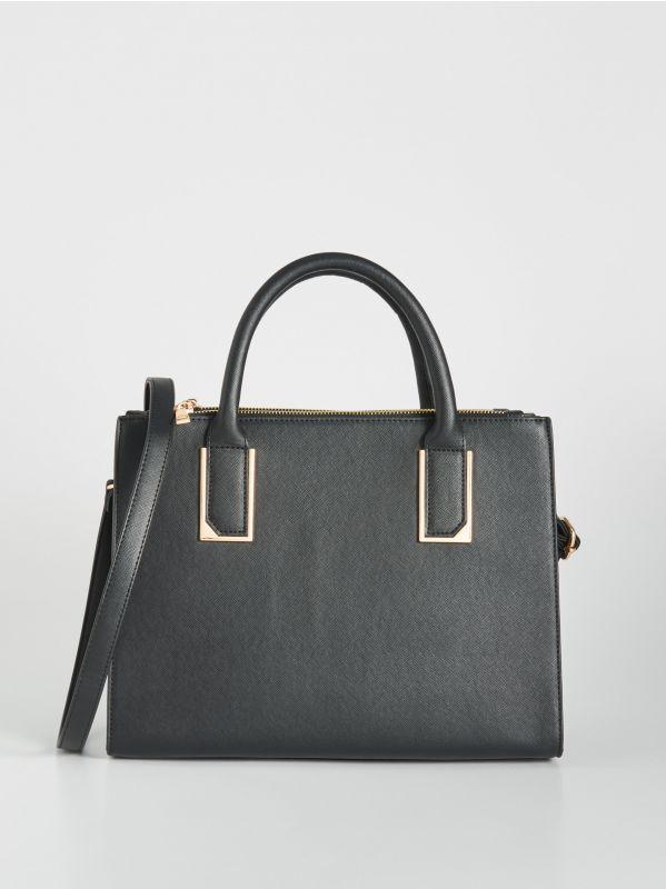 84851392f533 Válltáska pomponnal · City táska fém elemekkel - fekete - VU830-99X - SINSAY