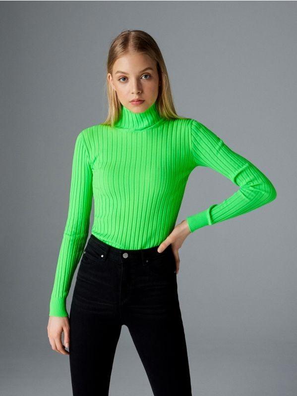 80501a495aad Priliehavý prúžkovaný sveter · Neónový rolákový sveter - zelená - VX049-71X  - SINSAY